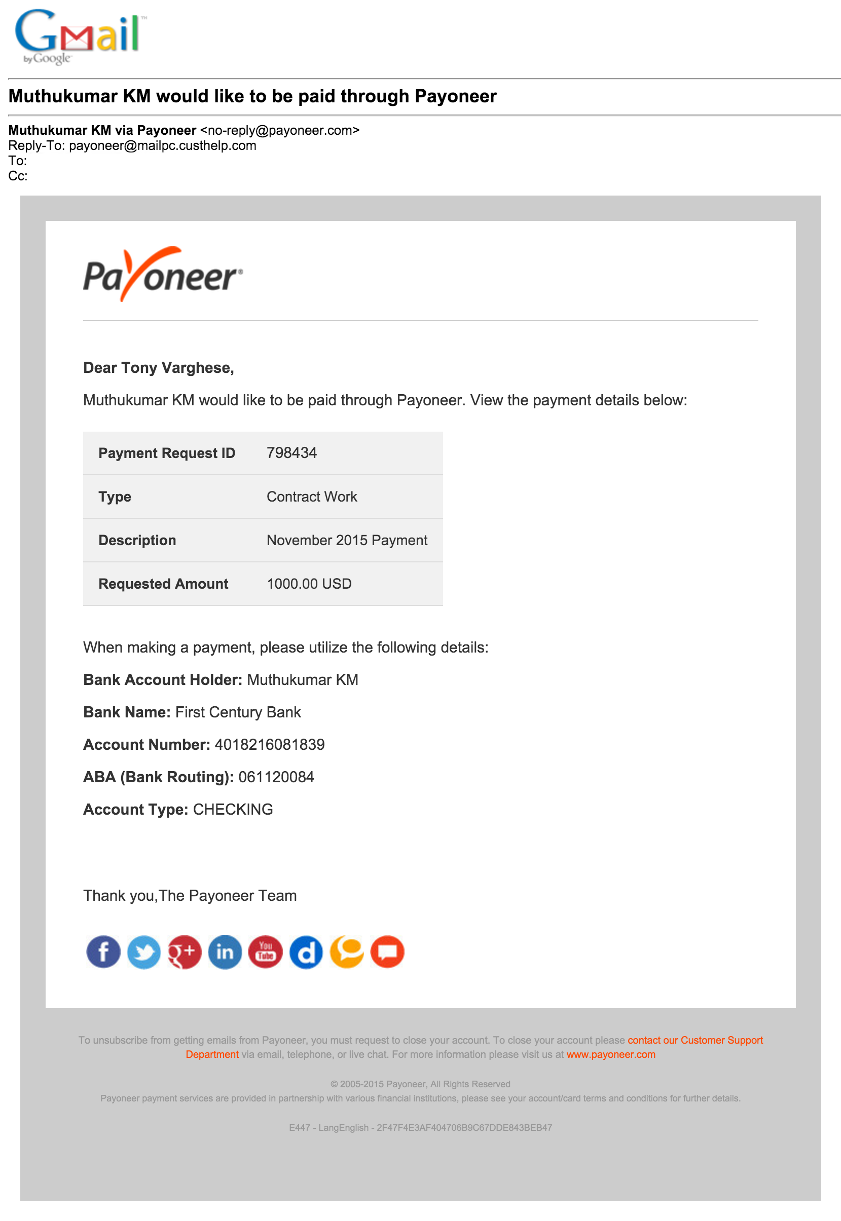 Payoneer Transaction
